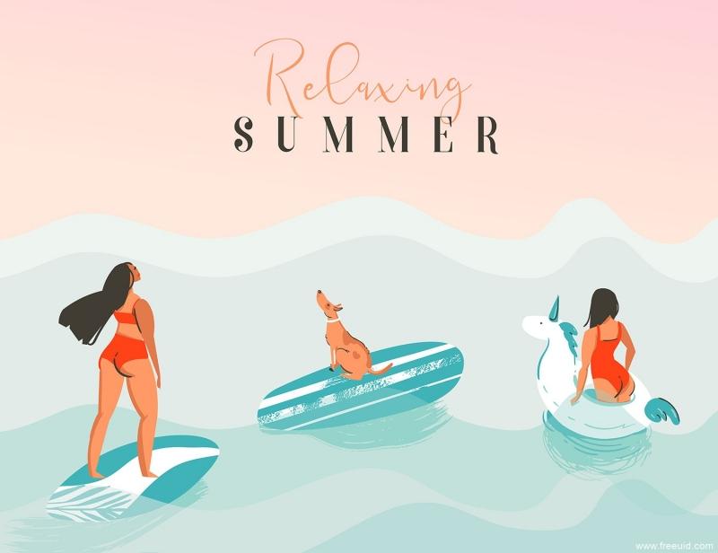 一组夏季海滩主题场景插画,ai源文件(eps、png、jpg)