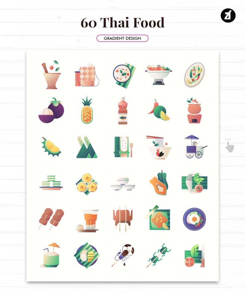 泰国60款矢量食品美食元素插图图标【EPS、PNG、SVG】
