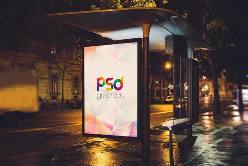 公交车站广告牌广告样机【PSD】