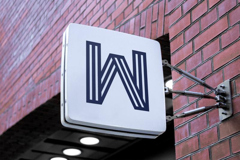 超清户外方形3D logo 或 店招设计展示样机下载[PSD]