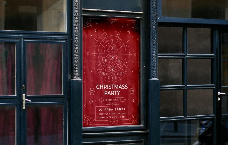 高端简约极简的圣诞节活动海报模板下载[Ai]