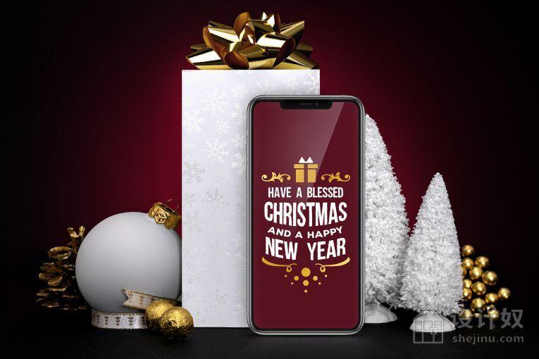 圣诞节iPhone 11 手机礼品组合样机素材下载【PSD】