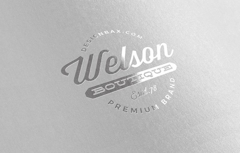 烫银工艺的logo设计展示样机素材下载[PSD]