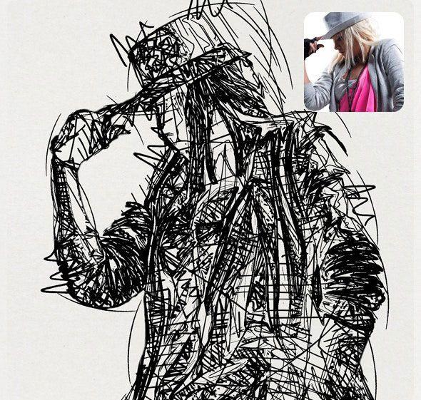 设计感极强的粗犷素描绘画效果ps动作下载【ATN】
