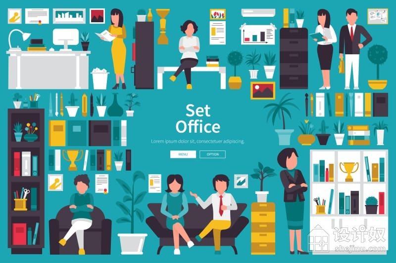 办公室人物场景设计插画+数据信息图表展示素材【AI】
