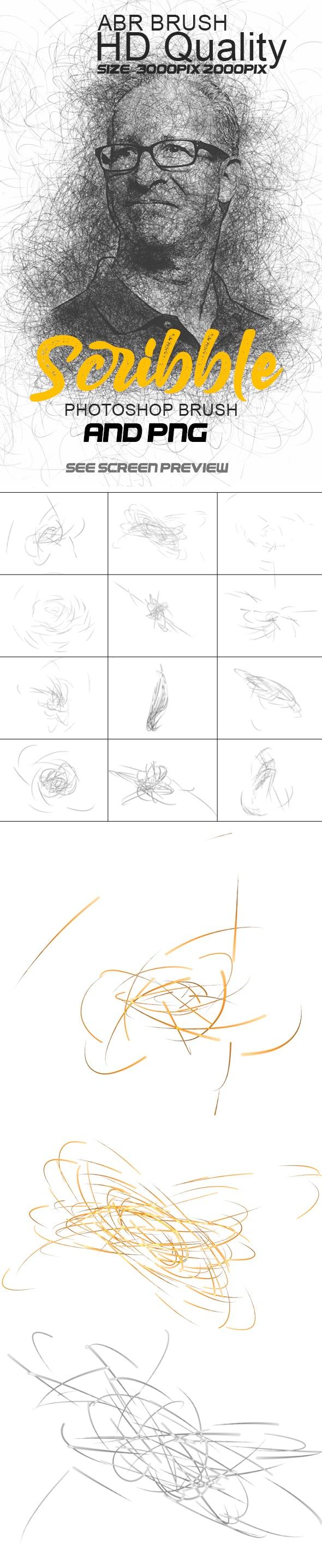 涂鸦水彩艺术画笔PS笔刷透明素材