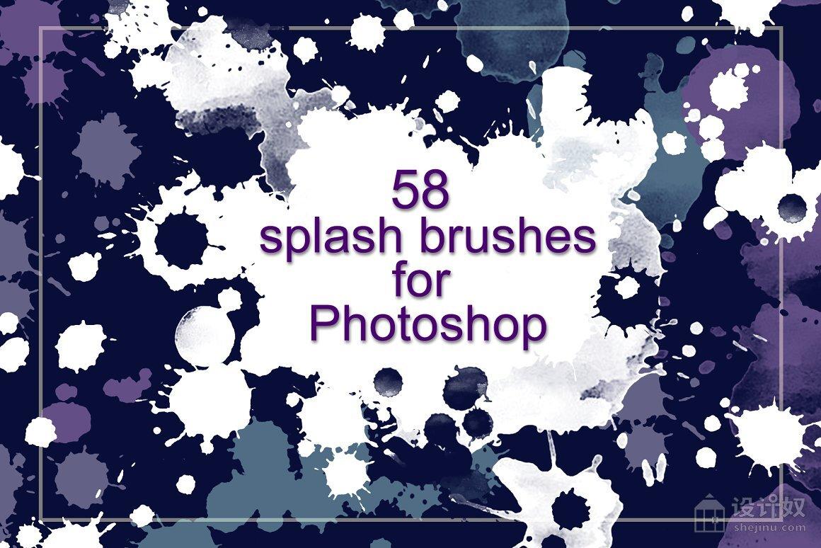 58个水彩墨迹水彩污迹PS笔刷透明素材,水彩污迹,水彩笔刷,PS笔刷