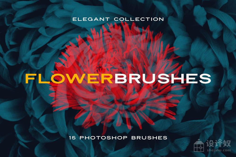 绽放的花朵花卉PNG免抠图PS笔刷透明素材