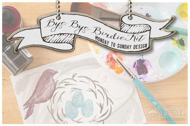 手绘水彩画小鸟PS笔刷和手绘水彩ASL图层样式透明素材