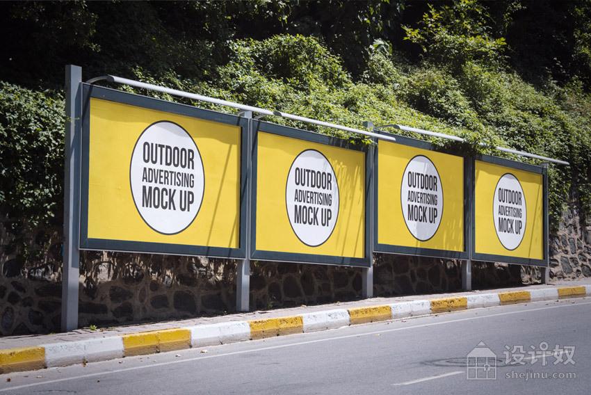 精美的户外广告牌展示模板