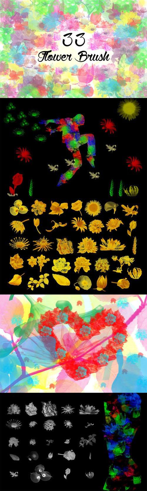 33个水彩花卉PS笔刷透明素材,花卉,花卉笔刷,PS笔刷