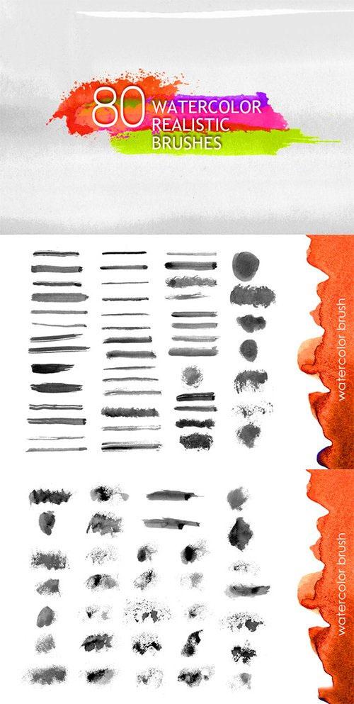 80款逼真的水彩涂抹效果PS笔刷透明素材