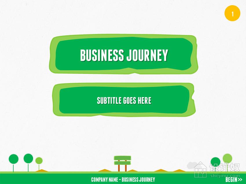 旅行野外绿色扁平化PPT模板