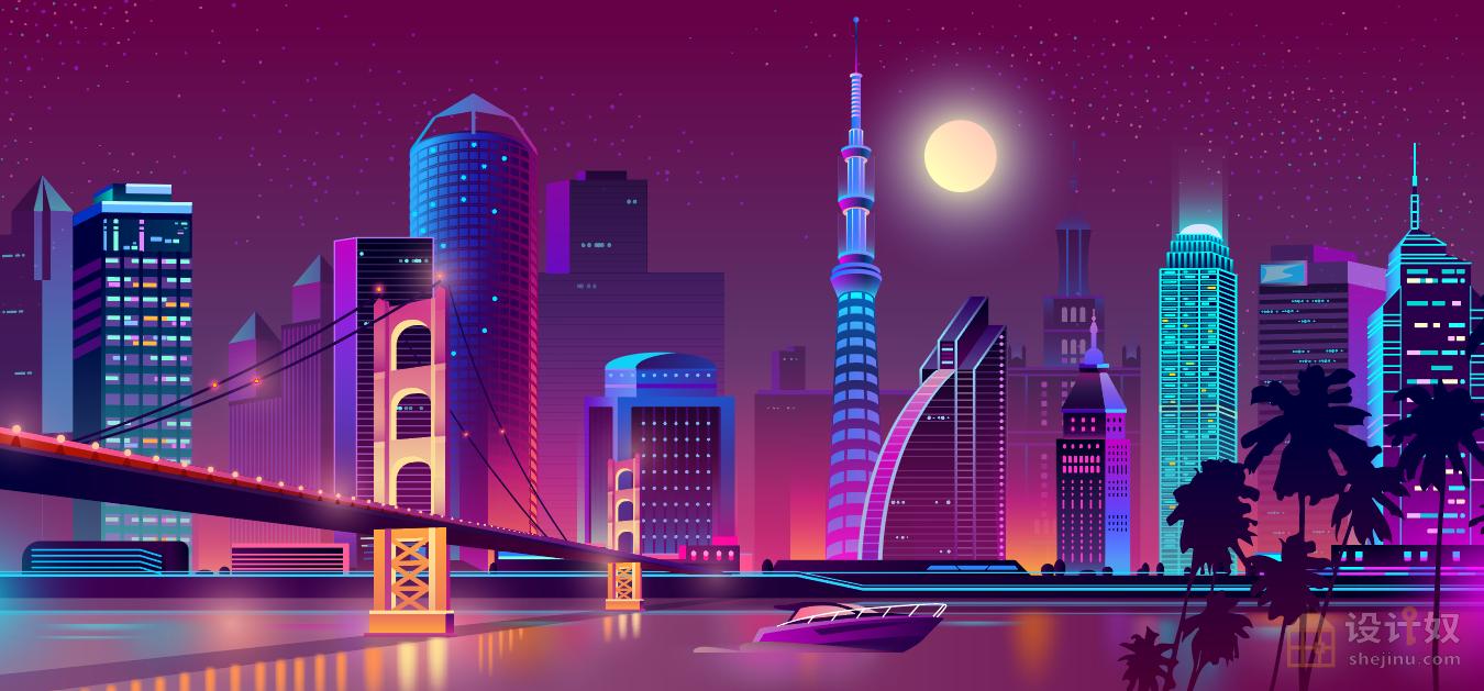 8款城市霓虹灯夜景高清矢量素材【AI】