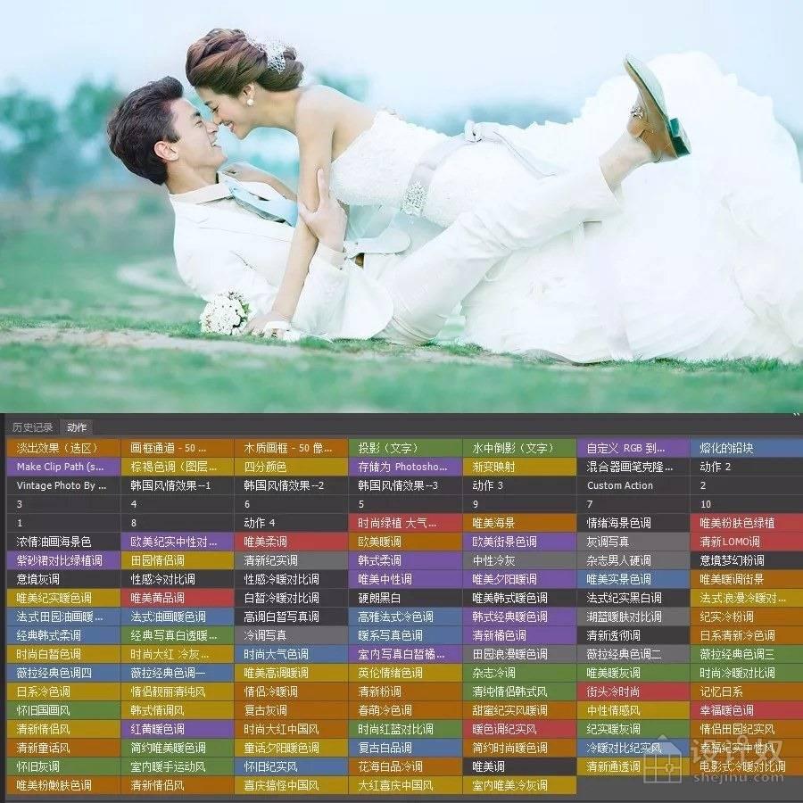 精选100款PS影楼专业人像婚纱写真商业调色动作【ATN】