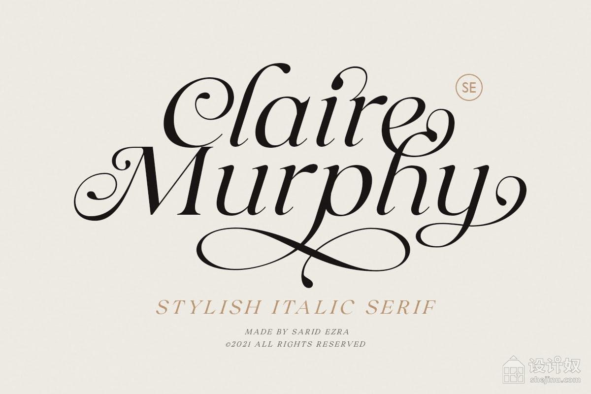 【免费】Claire Murphy时尚高端的高品质优雅斜体衬线英文字体设计