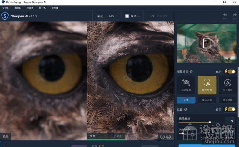 Topaz Sharpen AI V3.1.0汉化版|AI人工智能聚焦防抖清晰锐化PS插件-支持PS2021【WIN+MAC】