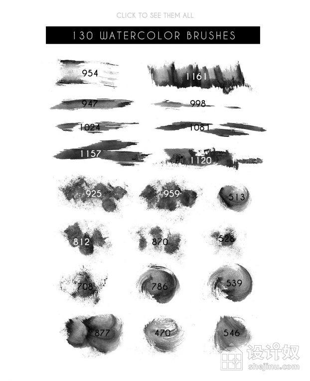 精选130个高质量PS国潮中国风手绘水墨笔刷【ABR】