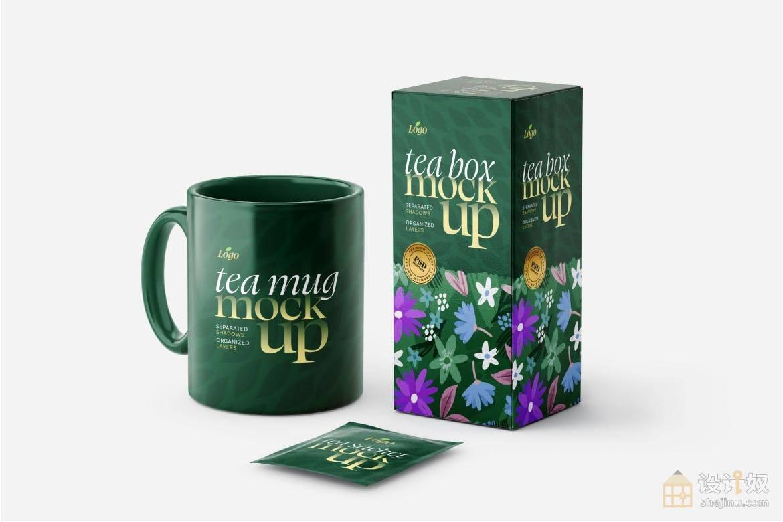 【免费】茶盒产品和茶袋包装场景模型(PSD)