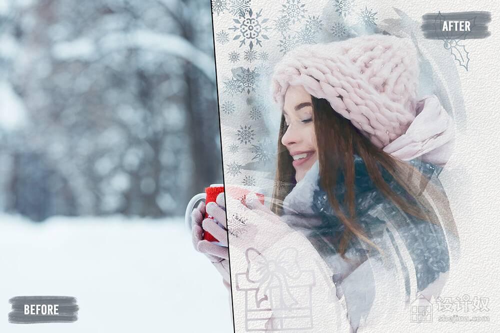【免费】20个冬季元素ps笔刷素材 (abr)