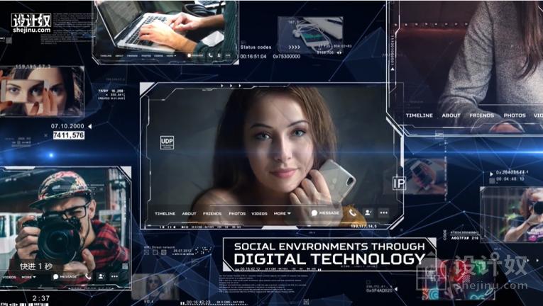 数字技术网络照片幻灯片/开场视频模板[aep]