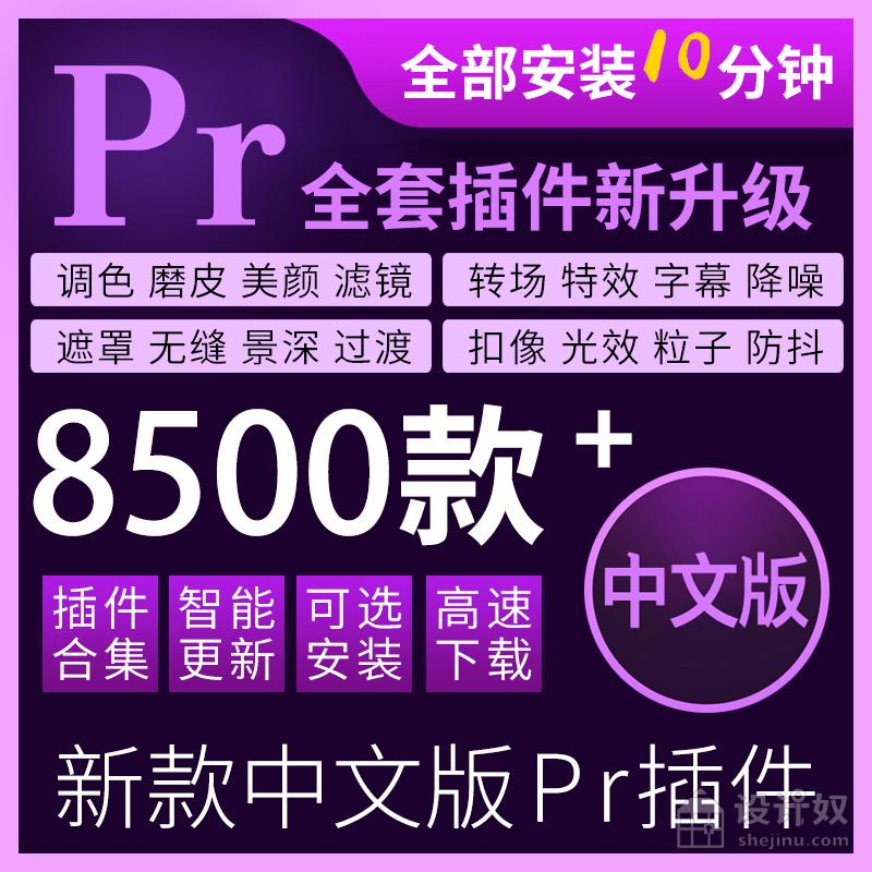 PR插件包全套合集Win一键安装磨皮美白调色转场字幕粒子汉化2020
