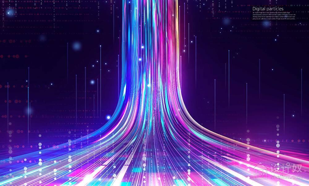 多彩流体瀑布数字科技背景图素材 (psd)