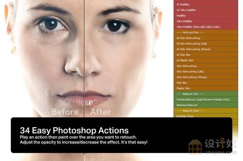 Skin Retouching Actions 3.0-Photoshop真实皮肤修饰美白磨皮动作【送参考视频】