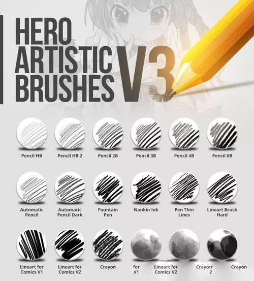 370多个Photoshop铅笔圆珠笔素描手写绘画笔刷集合